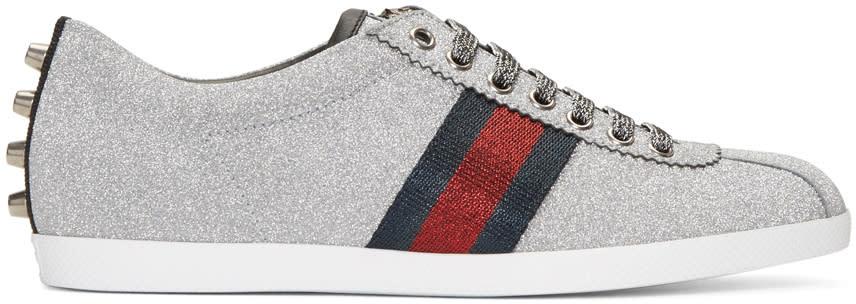 gucci male 257348 gucci silver glitter bambi sneakers