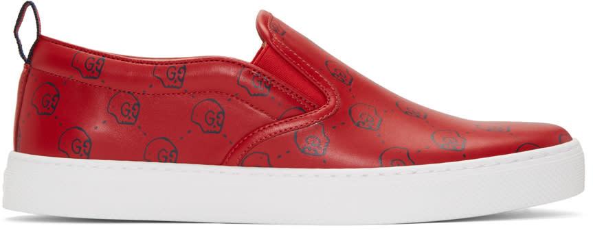 gucci male 250960 gucci red gucci ghost dublin slipon sneakers