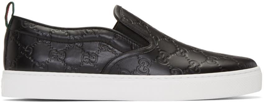 gucci male 188971 gucci black logo dublin slipon sneakers