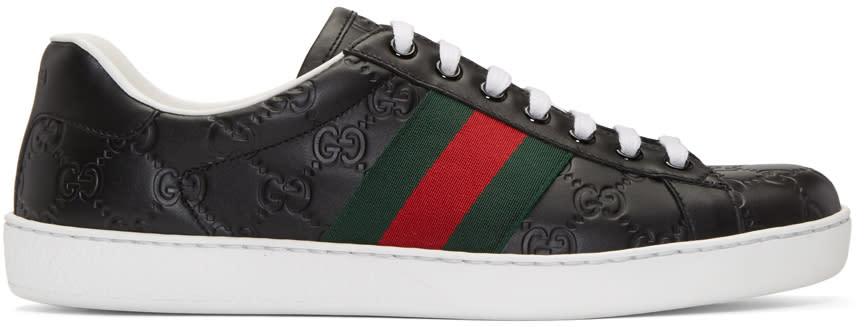 gucci male 188971 gucci black logo stripe new ace sneakers