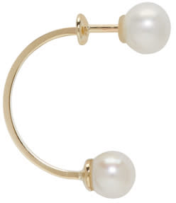 Image of Delfina Delettrez Gold Double Pearl Earring