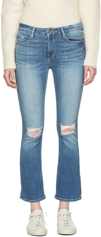 Frame Denim Blue Le Crop Mini Boot Jeans