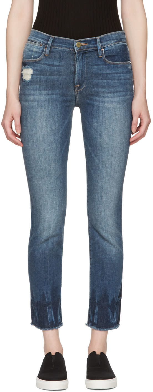 Frame Denim Blue le High Straight Raw Edge Fade Jeans