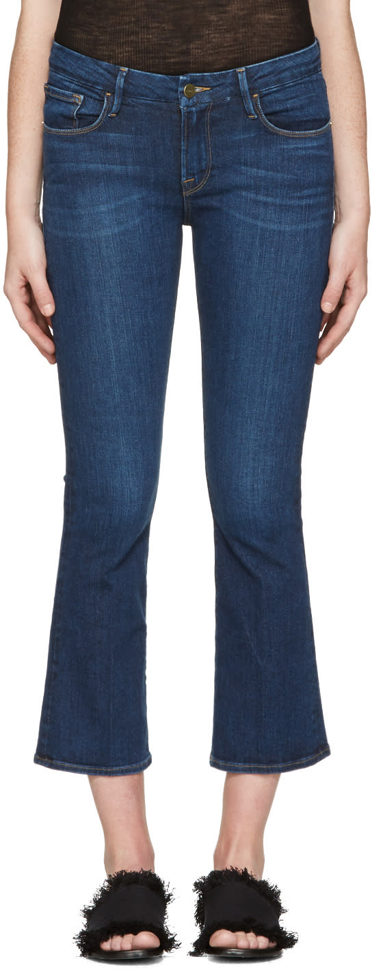 Frame Denim Indigo Crop Mini Boot Jeans