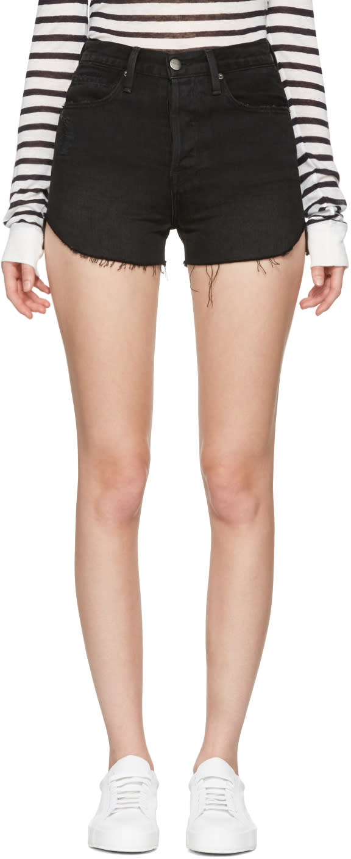 Frame Denim Black Denim Le Original Tulip Shorts