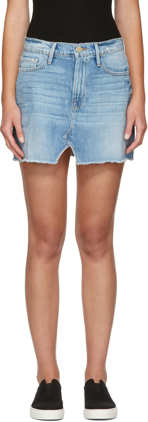 Frame Denim Blue Denim Le Mini Split Front Skirt