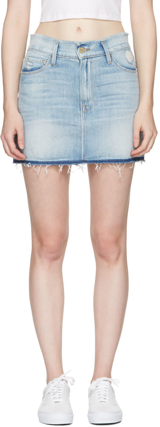Frame Denim Blue Denim le Mini Frayed Waist Miniskirt