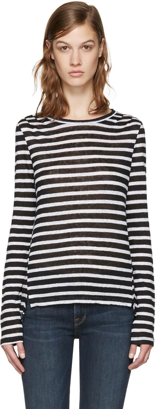 Frame Denim White and Black Striped Pintuck T-shirt