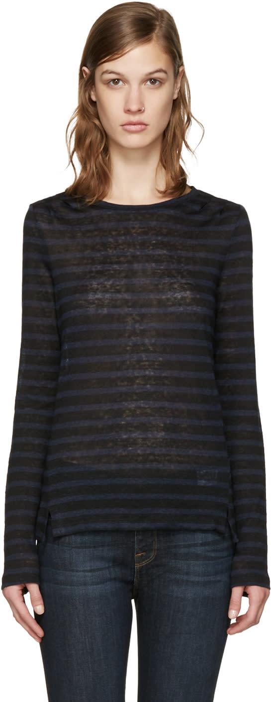 Frame Denim Navy and Black Striped Pintuck T-shirt