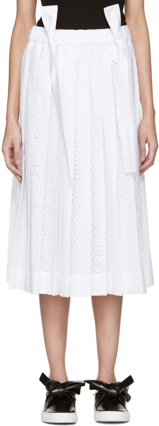 Cedric Charlier White Pleated Lace Skirt