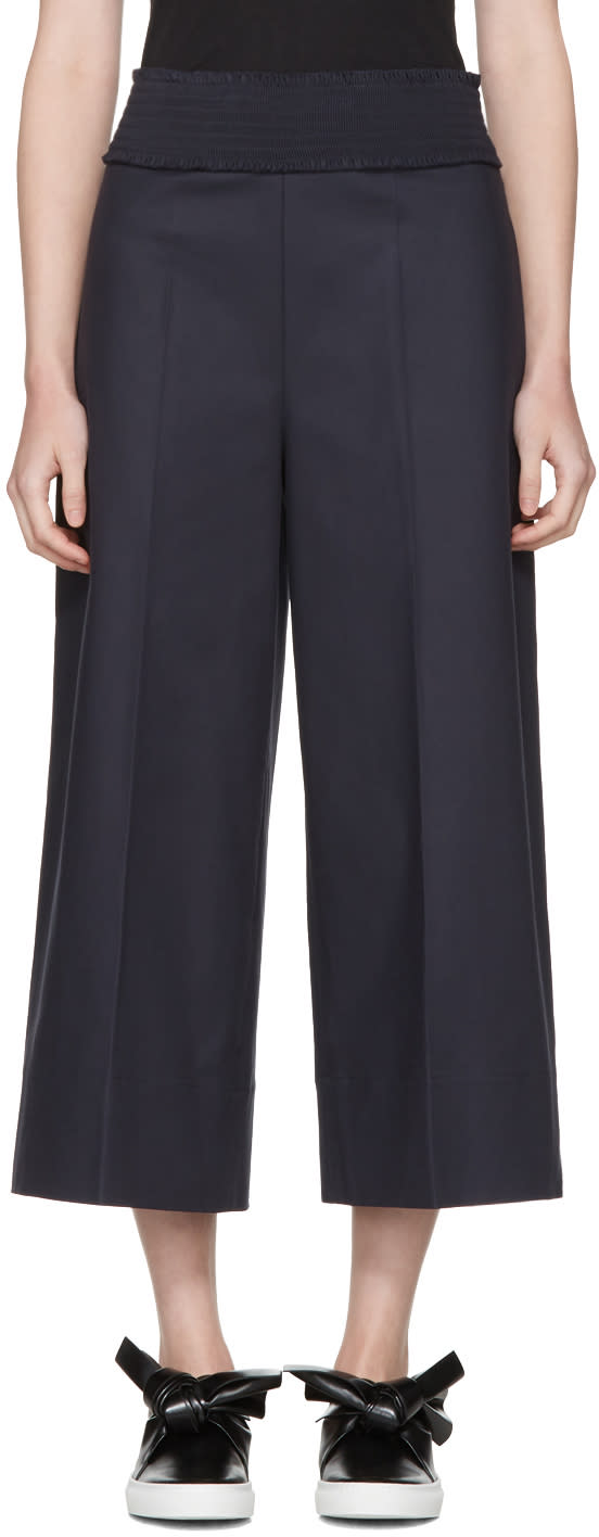 Cedric Charlier Navy Wide-leg Trousers