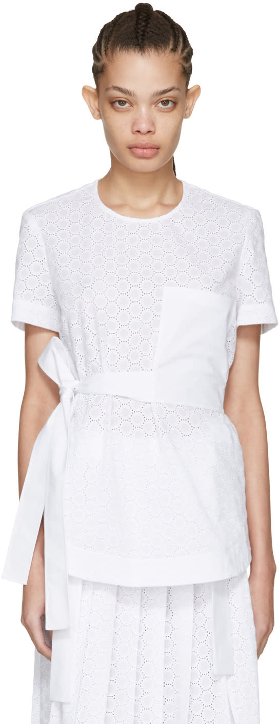 Cedric Charlier White Lace Pocket Blouse