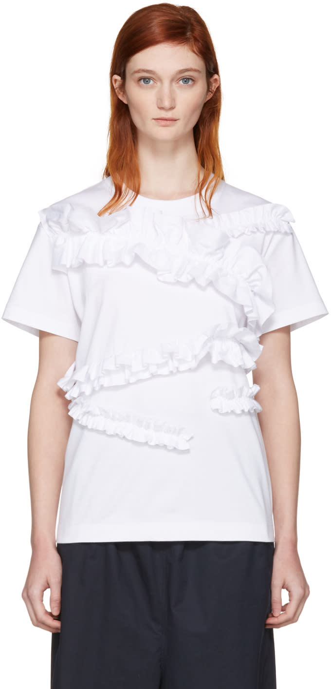 Cedric Charlier White Ruffle T-shirt