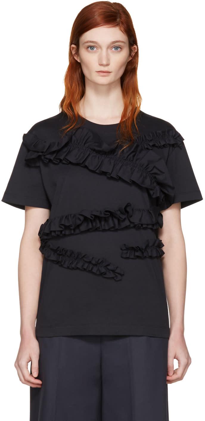 Cedric Charlier Navy Ruffle T-shirt