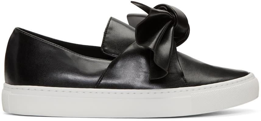 Cedric Charlier Black Bow Slip-on Sneakers