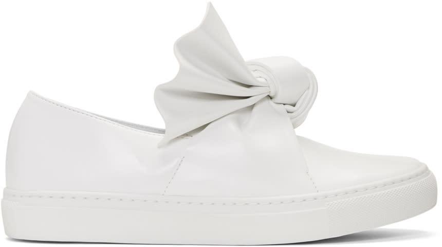 Cedric Charlier White Bow Slip-on Sneakers