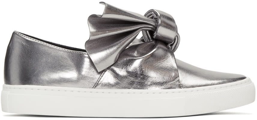 Cedric Charlier Silver Bow Slip-on Sneakers