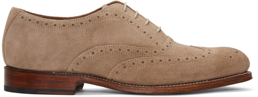 Grenson Taupe Suede Luther Brogues