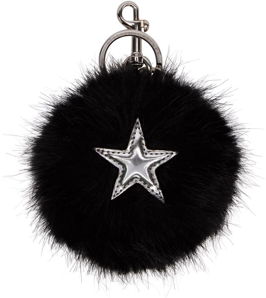 Stella Mccartney Black Faux-fur Star Keychain