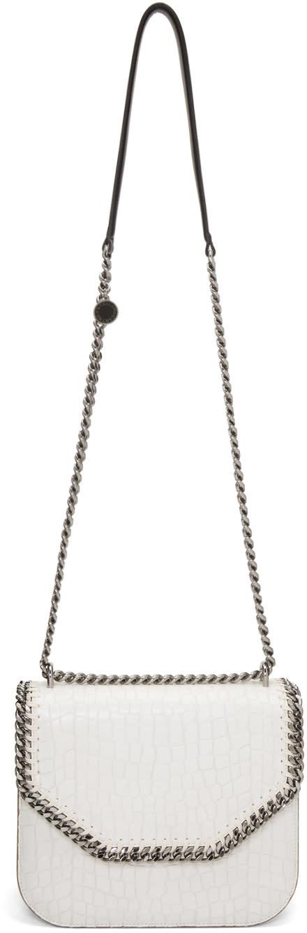 Stella Mccartney Ivory Croc-embossed Flap Shoulder Bag