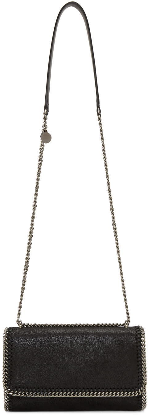 Stella Mccartney Black Chained Flap Shoulder Bag at SSENSE
