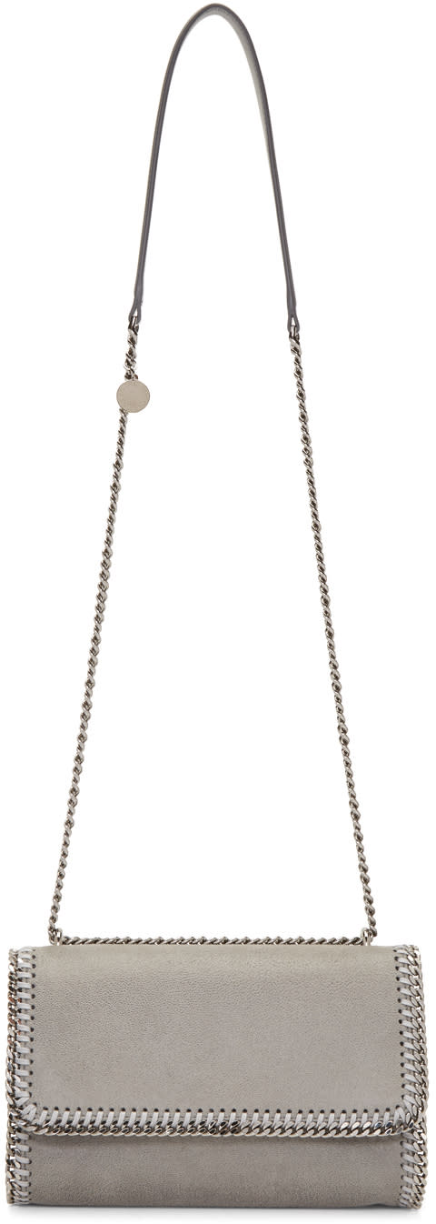Stella Mccartney Grey Chained Flap Shoulder Bag at SSENSE