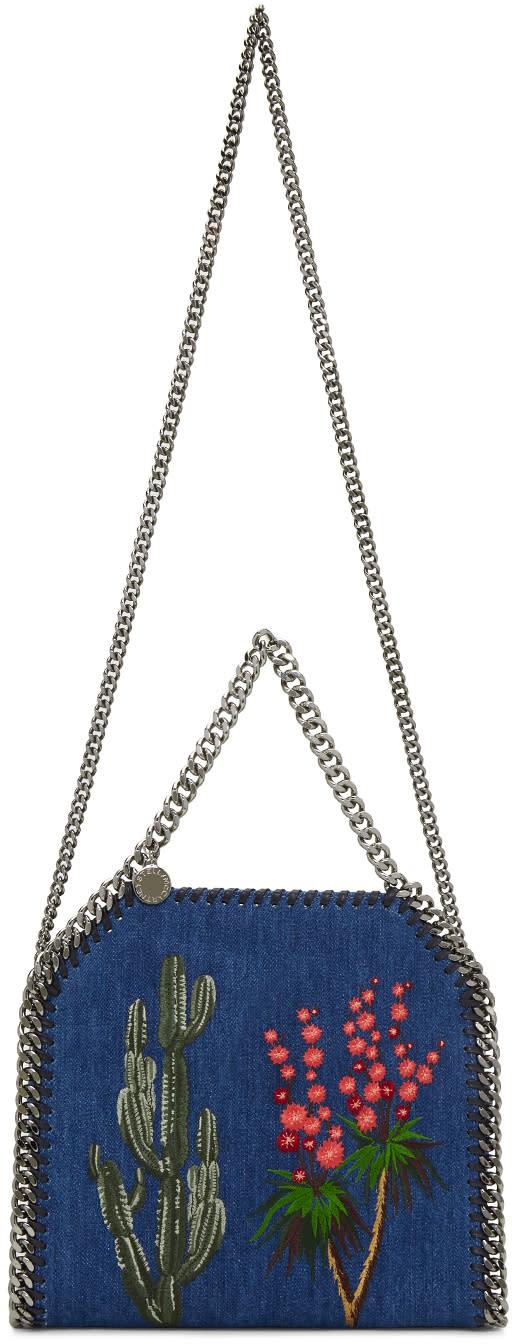 Stella Mccartney Blue Denim Mini Embroidered Falabella Tote