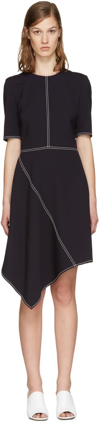 Stella Mccartney Navy Wool Stitching Dress