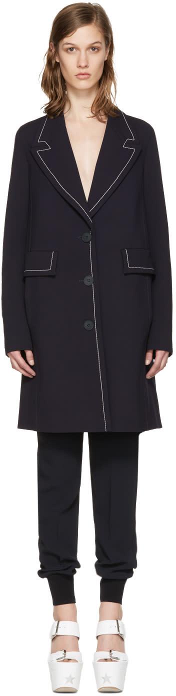 Stella Mccartney Navy Wool Fitted Coat