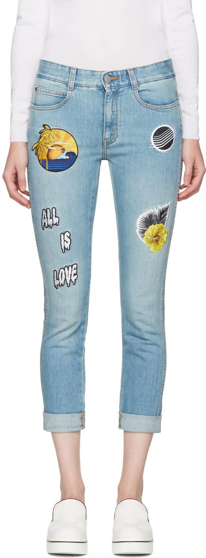Stella Mccartney Blue Surf Patch Skinny Boyfriend Jeans