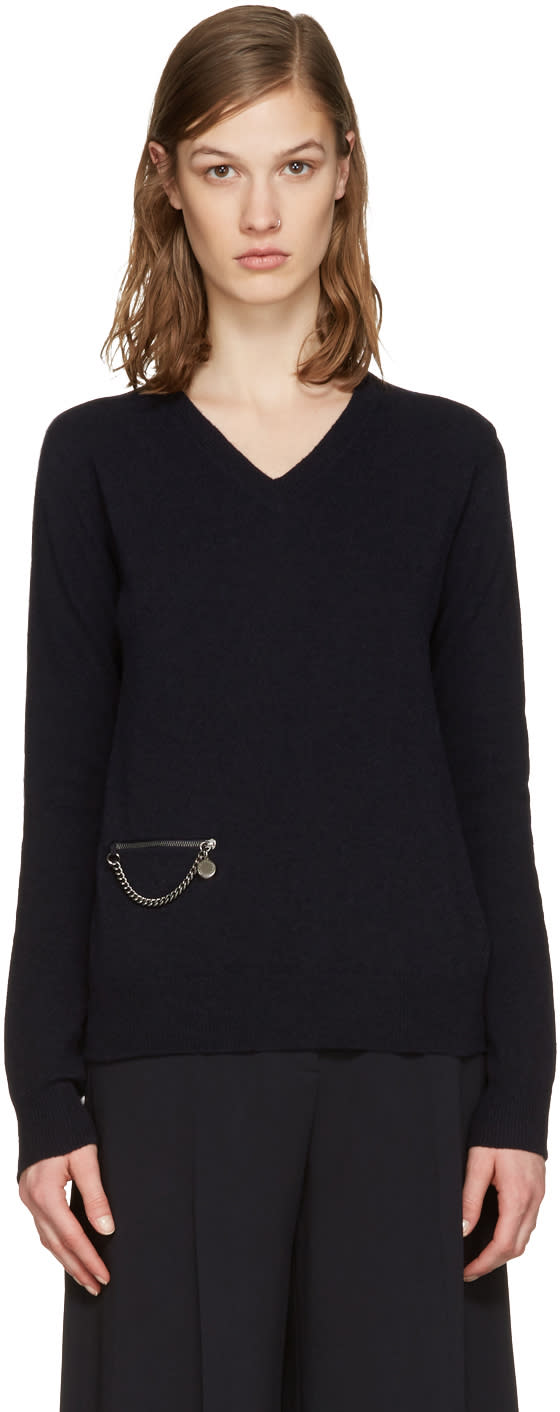 Stella Mccartney Navy Wool Chained Sweater