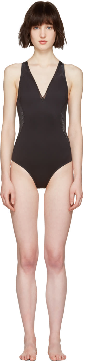 Stella Mccartney Black Neoprene and Mesh Swimsuit