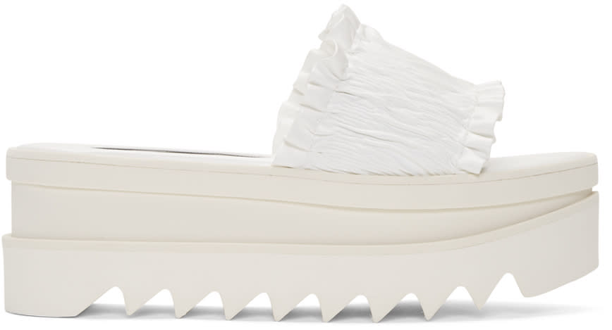 Stella Mccartney White Ruched Sandals