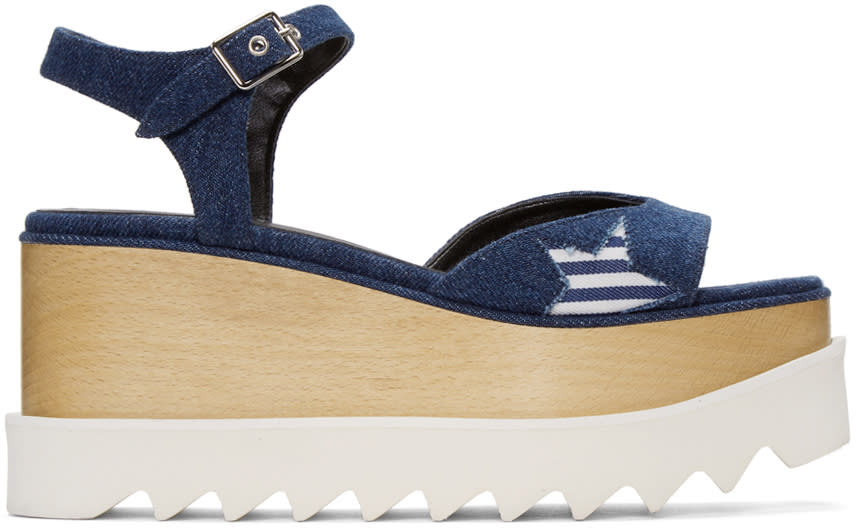 Stella Mccartney Blue Star Denim Elyse Sandals