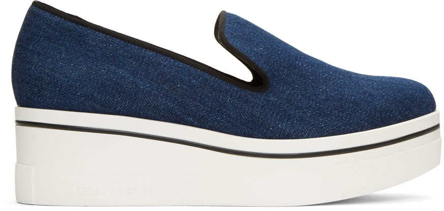 Stella Mccartney Navy Denim Slip-on Sneakers