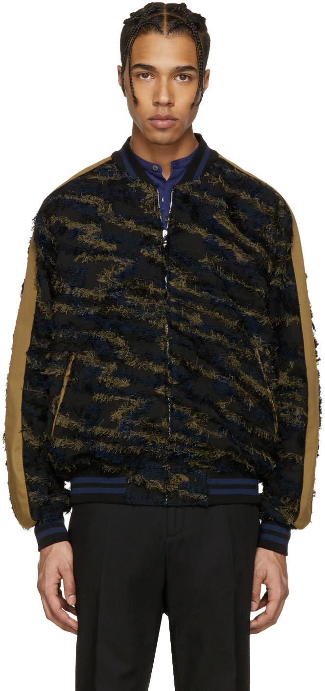 Stella Mccartney Black Frayed Bomber Jacket