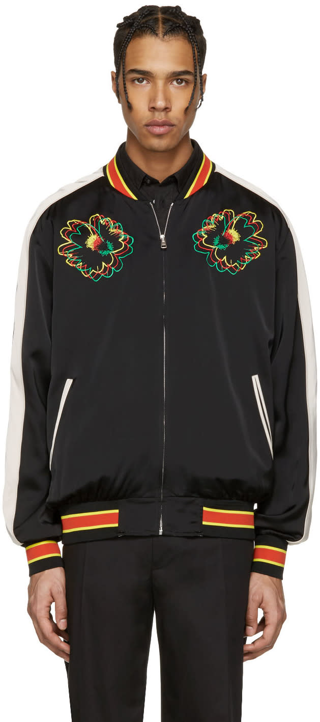 Stella Mccartney Black Embroidered Floral Bomber Jacket