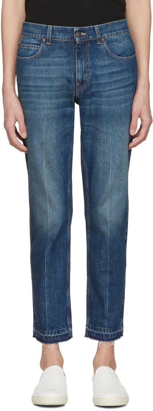 Stella Mccartney Navy Cropped Frayed Jeans