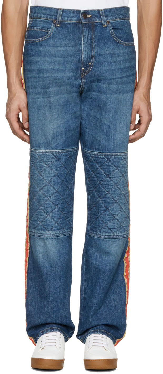 Stella Mccartney Navy Wide-leg Quilted Jeans