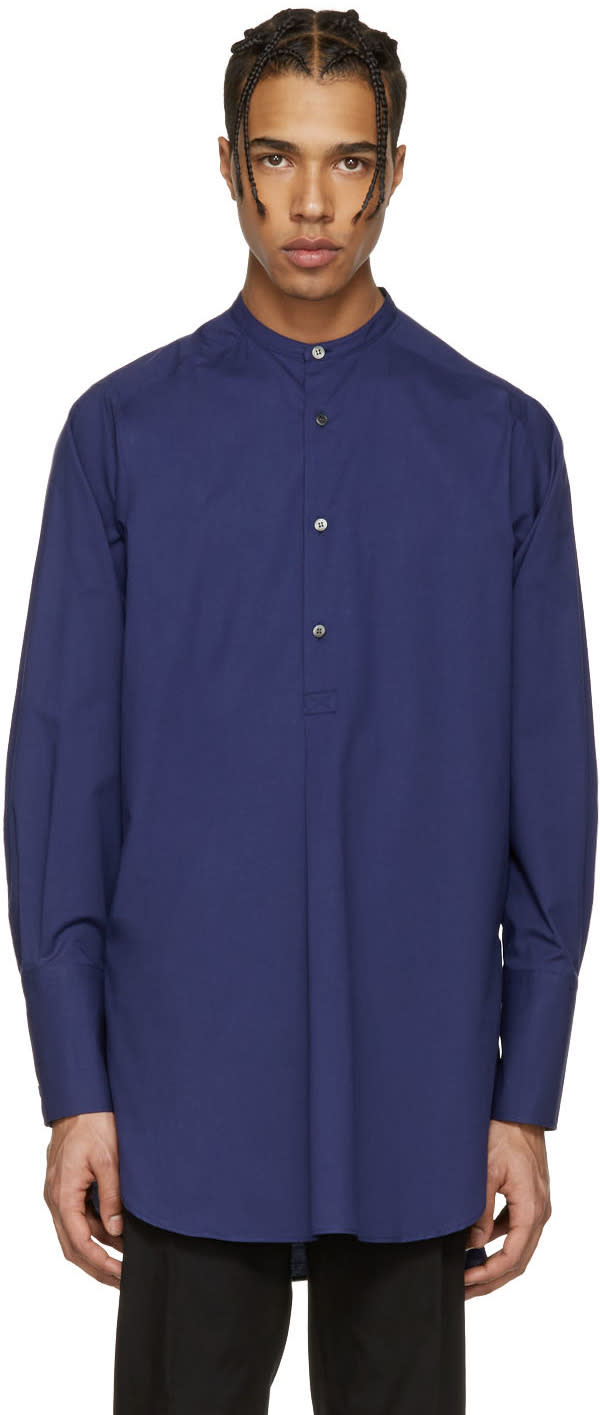 Stella Mccartney Blue Henley Collar Shirt