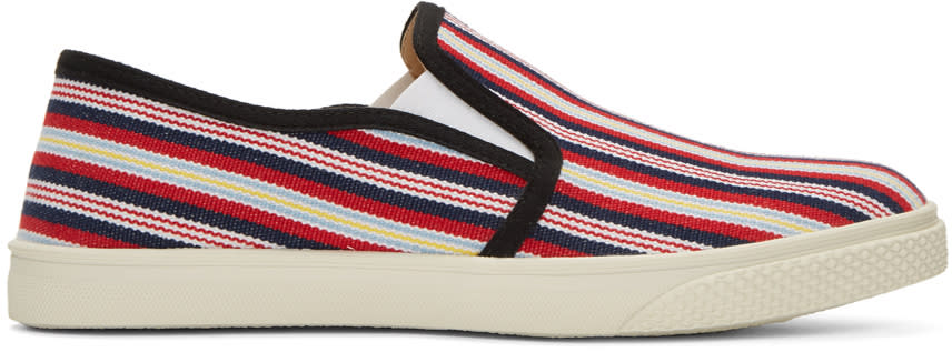 Stella Mccartney Multicolor Canvas Striped Slip-on Sneakers