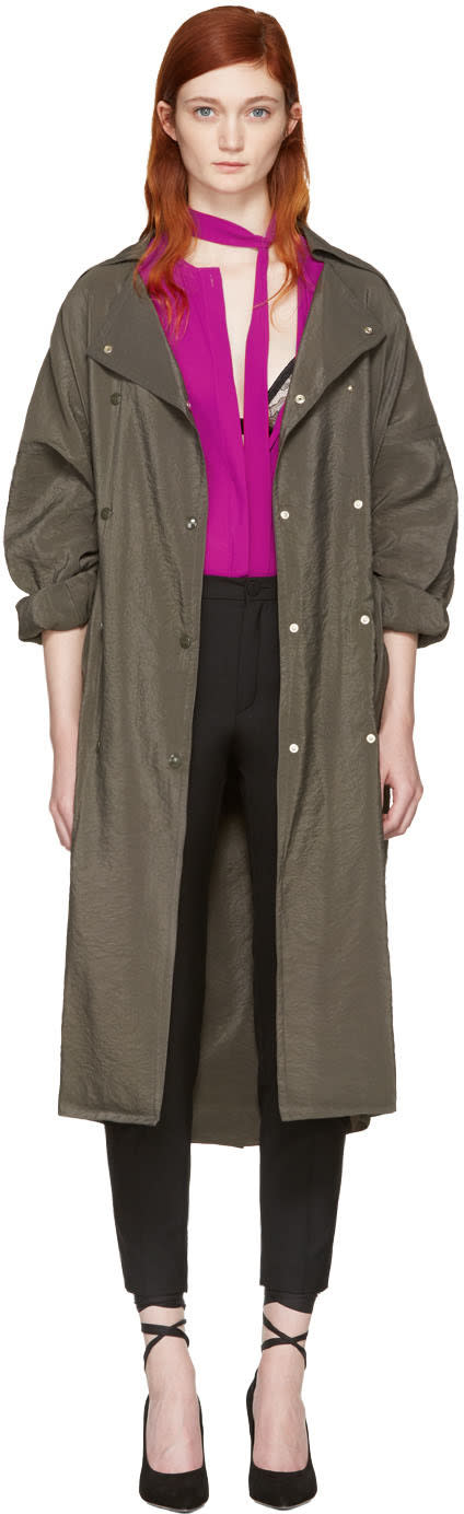Nina Ricci Green Sporty Trench Coat
