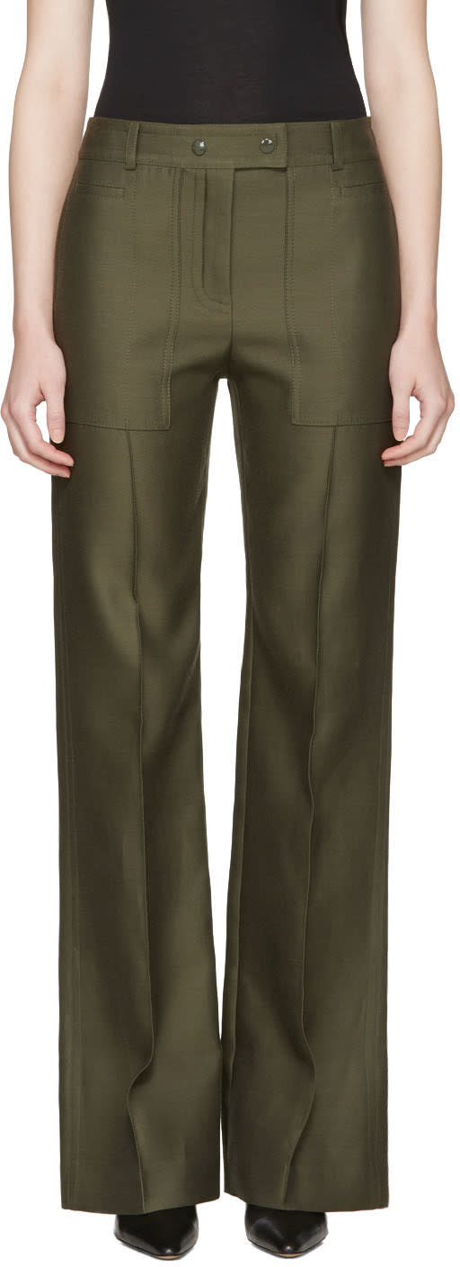 Nina Ricci Green High Waist Wide-leg Trousers