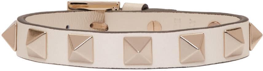Valentino Ivory Leather Rockstud Bracelet
