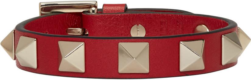 Valentino Red Leather Rockstud Bracelet