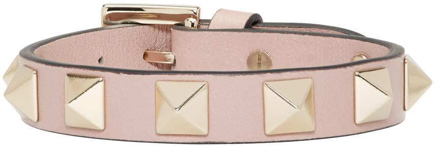 Valentino Pink Leather Rockstud Bracelet