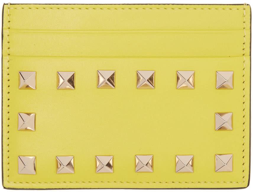 Valentino Yellow Rockstud Card Holder