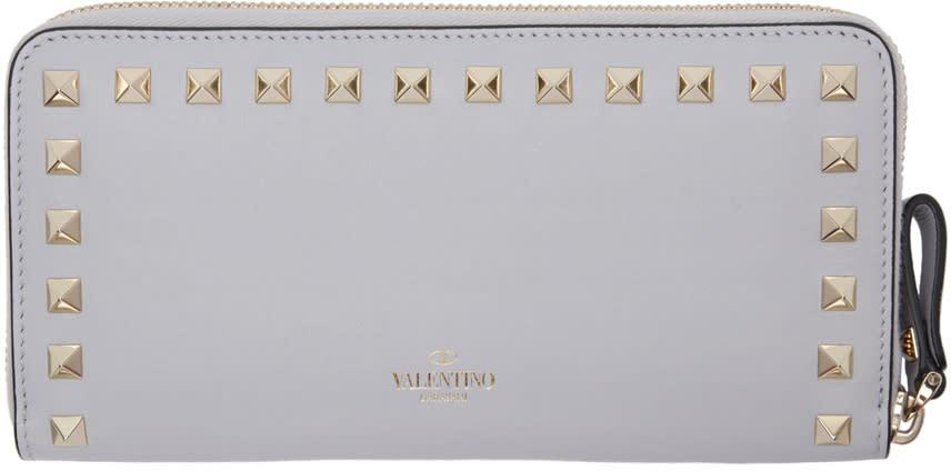 Valentino Grey Rockstud Continental Wallet