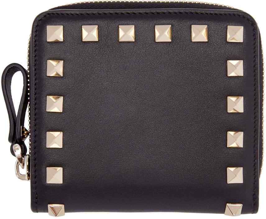 Valentino Black Small Rockstud Wallet