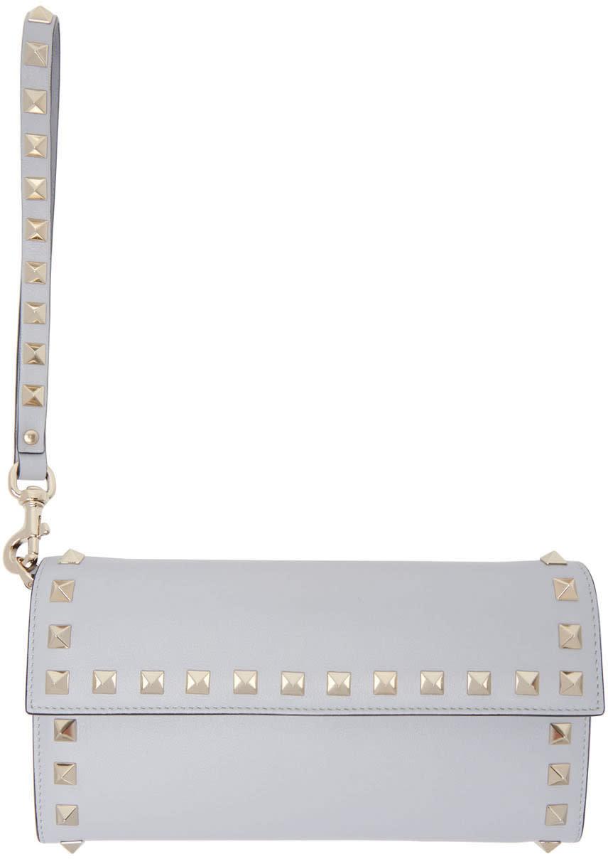 Valentino Grey Rockstud Flap Wallet